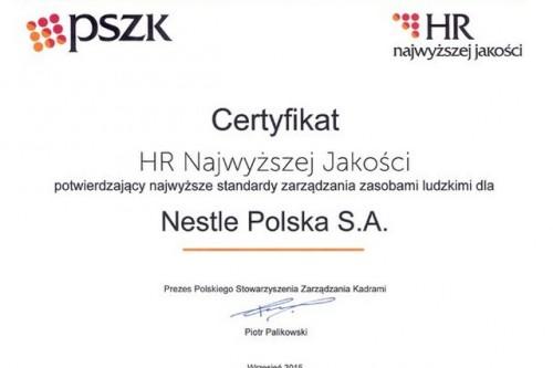 Nestlé wyróżnione Certyfikatem HR Najwyższej Jakości