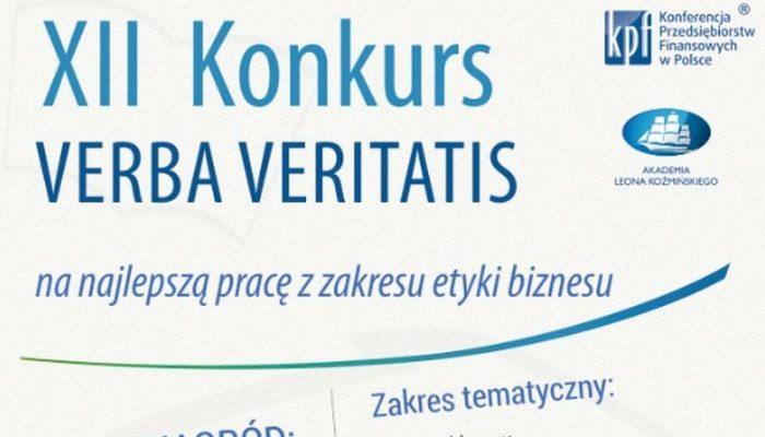 XII Konkurs VERBA VERITATIS na najlepszą pracę z zakresu etyki biznesu