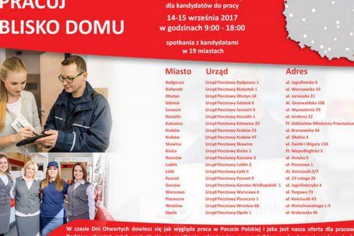 Poczta Polska organizuje Dni Otwarte dla kandydatów do pracy